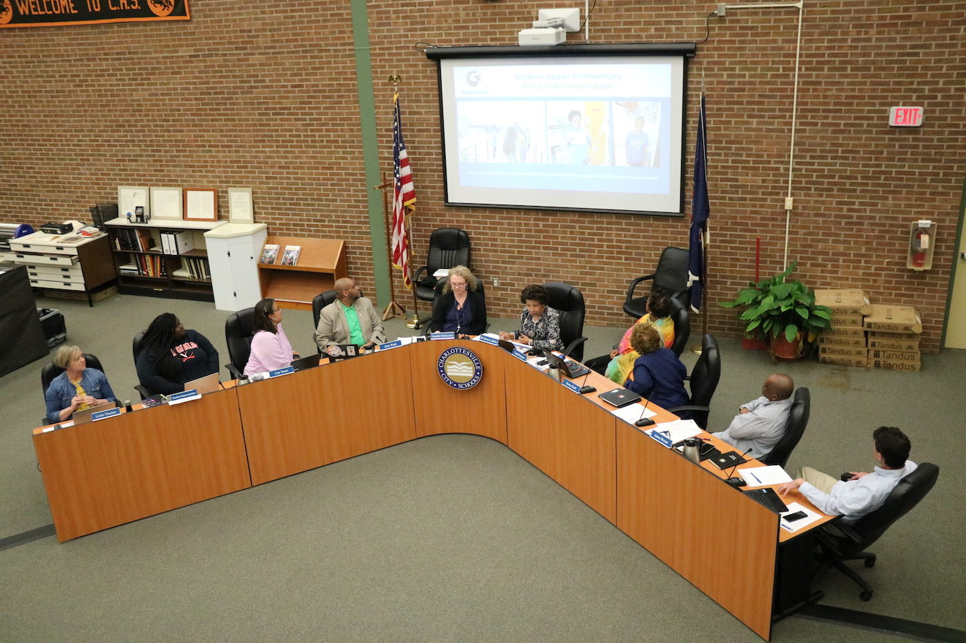 A 2019 meeting of the Charlottesville School Board.