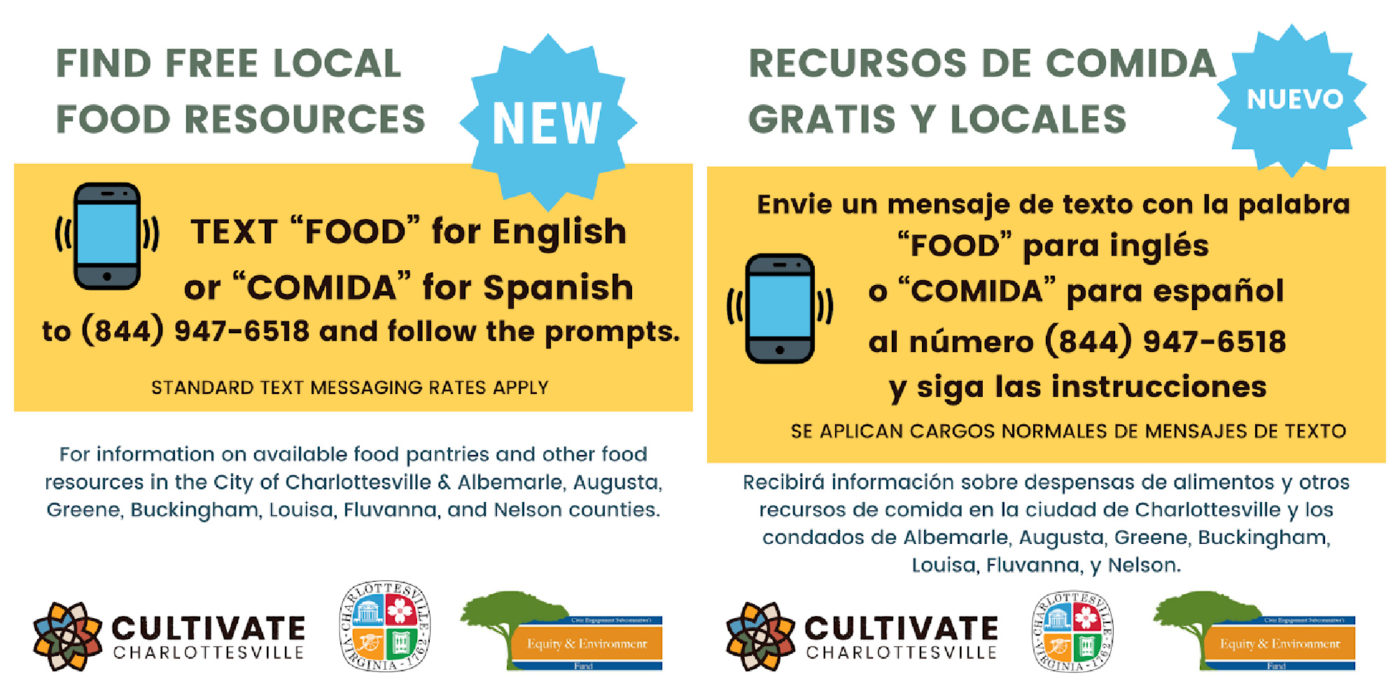 Access instructions to food resource hotline
